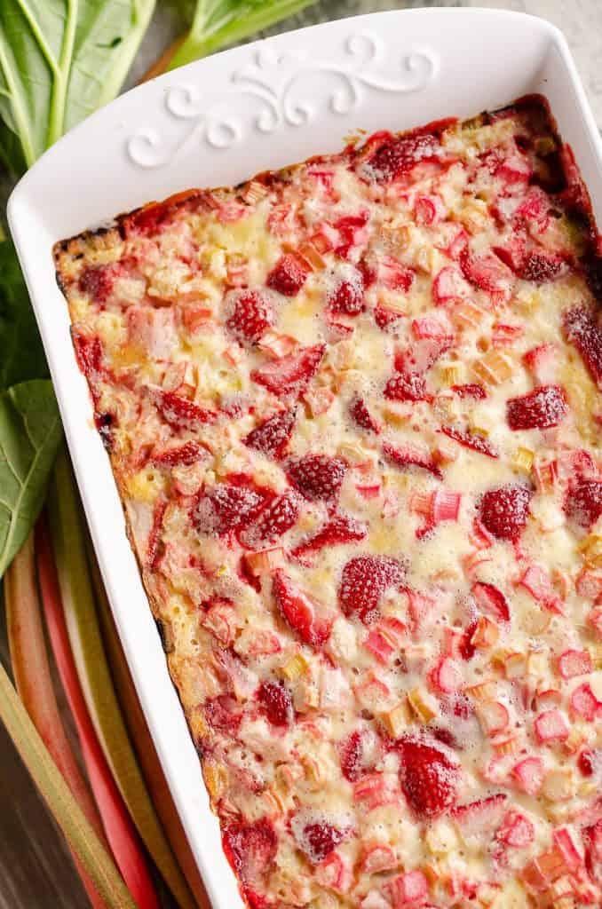 Strawberry Rhubarb Custard Dessert baked in 9x13 pan