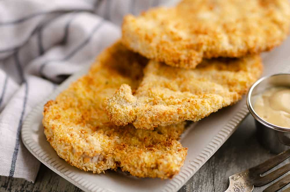 Crispy Air Fryer Breaded Pork Chops served with dijon mustard sauce