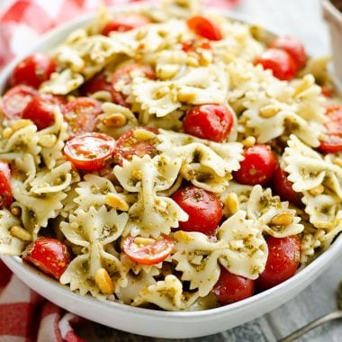 Fresh Tomato Pesto Pasta Salad served on dinner table