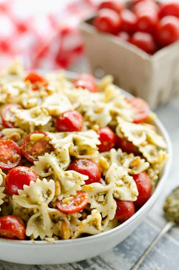 Fresh Tomato Pesto Pasta Salad served in large bowl