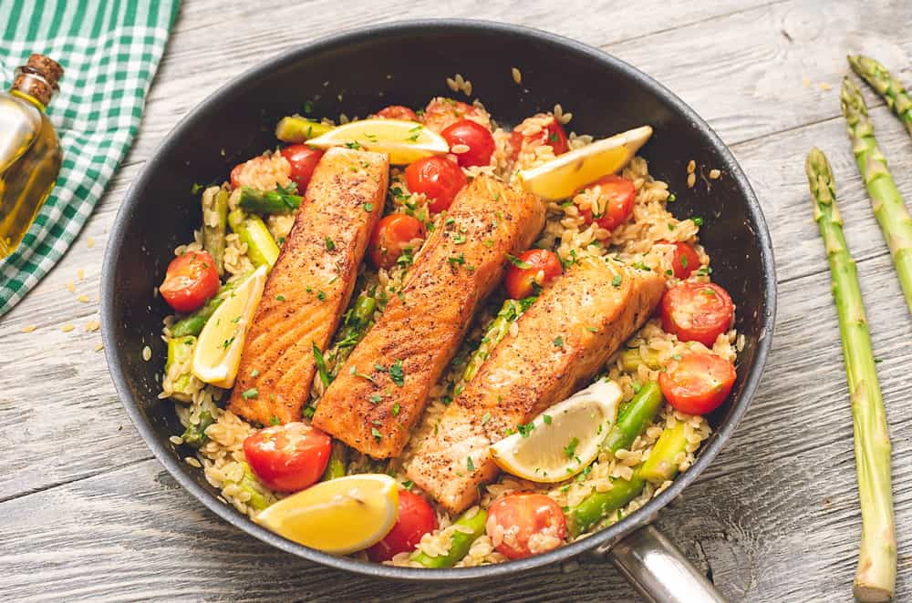 Lemon Salmon Orzo Skillet on table