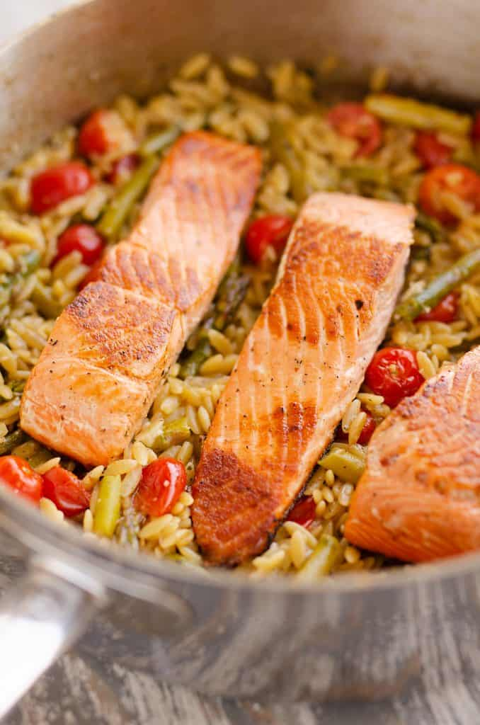 Lemon Salmon Orzo Skillet in pan