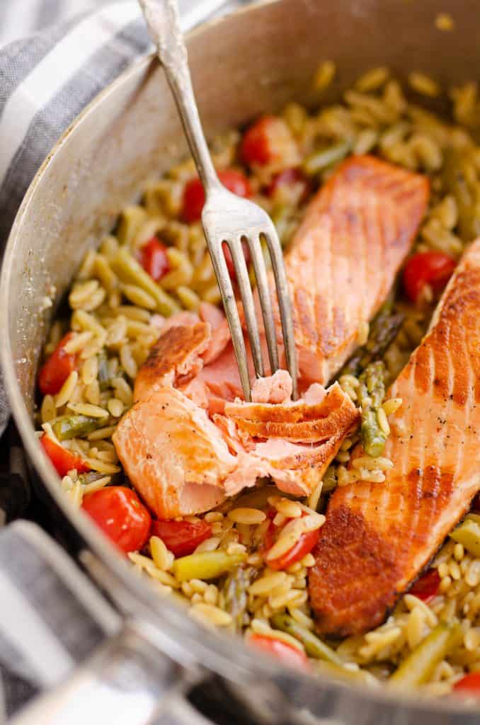 Lemon Salmon Orzo Skillet bite with fork