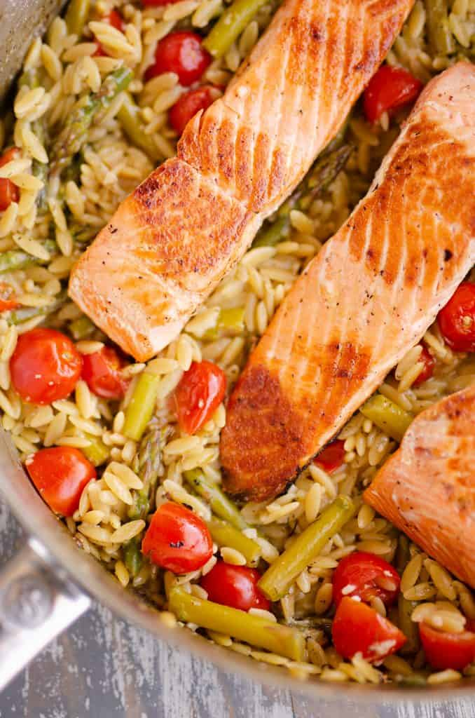 Lemon Salmon Orzo Skillet in saute pan