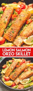 Lemon Salmon Orzo Skillet