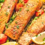 Lemon Salmon Orzo Skillet