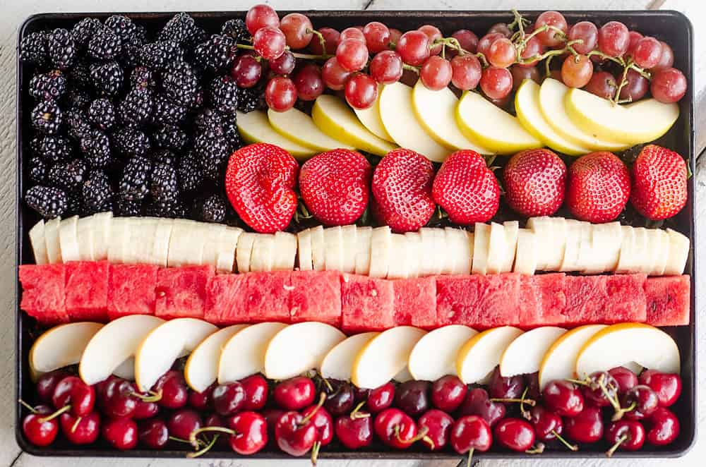 Patriotic Flag Fruit Platter on tray