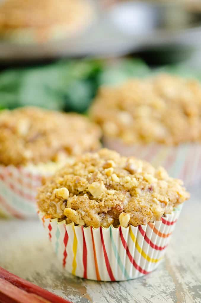rhubarb muffin with walnut streusel on table