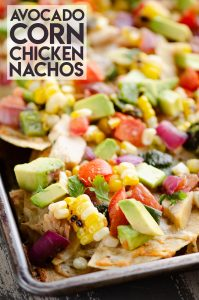 Avocado Corn Chicken Nachos