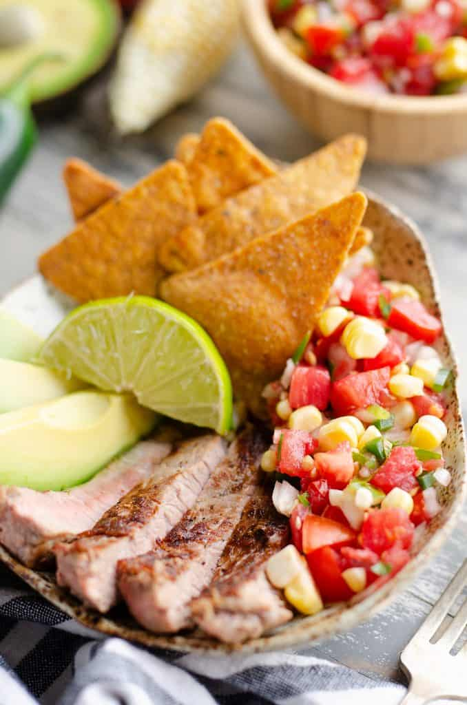 Garden Salsa Steak Bowl served for dinner