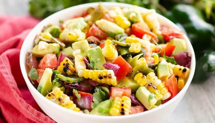 Grilled Corn Avocado Salad Recipe in bowl