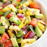Grilled Corn Avocado Salad Recipe in serving bowl