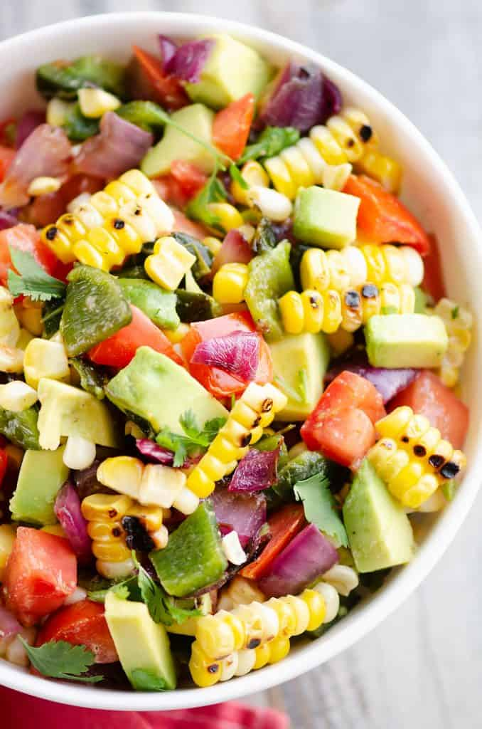 Grilled Corn Avocado Salad Recipe served in bowl