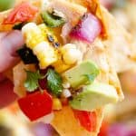 Grilled Corn Avocado Salsa Recipe on chip nachos