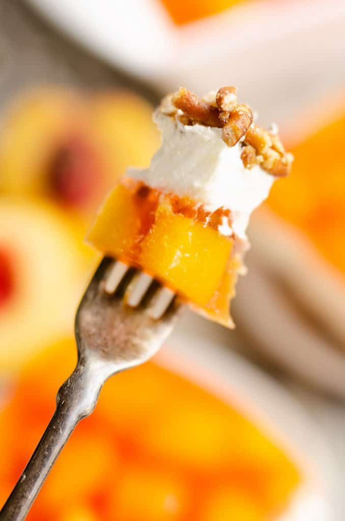 Peach Pretzel Salad Dessert bite on fork