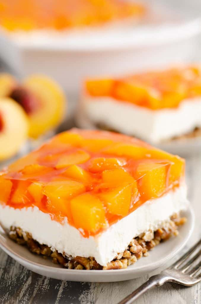 Peach Pretzel Salad Dessert slice served on plate