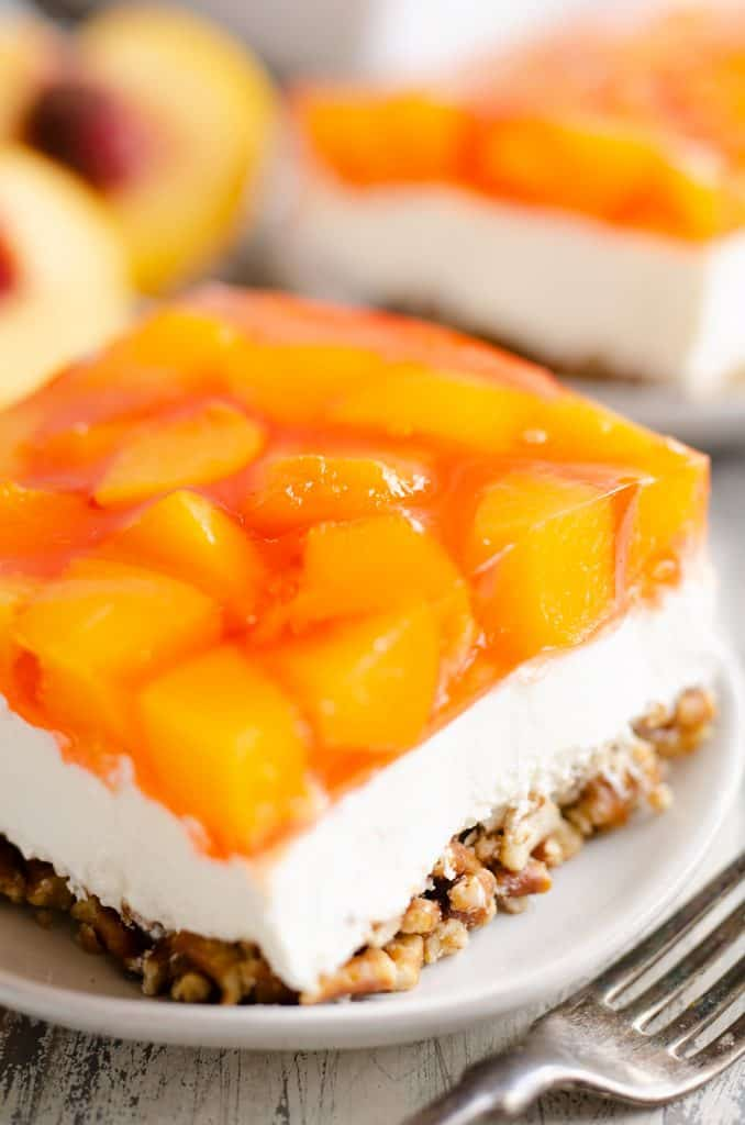 Peach Pretzel Salad Dessert piece served on plate
