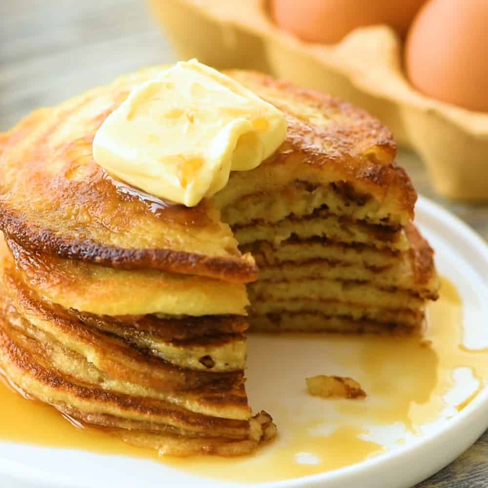 Best Buttermilk Pancake Recipe with bite taken out
