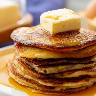 Best Buttermilk Pancake Recipe with butter and syrup