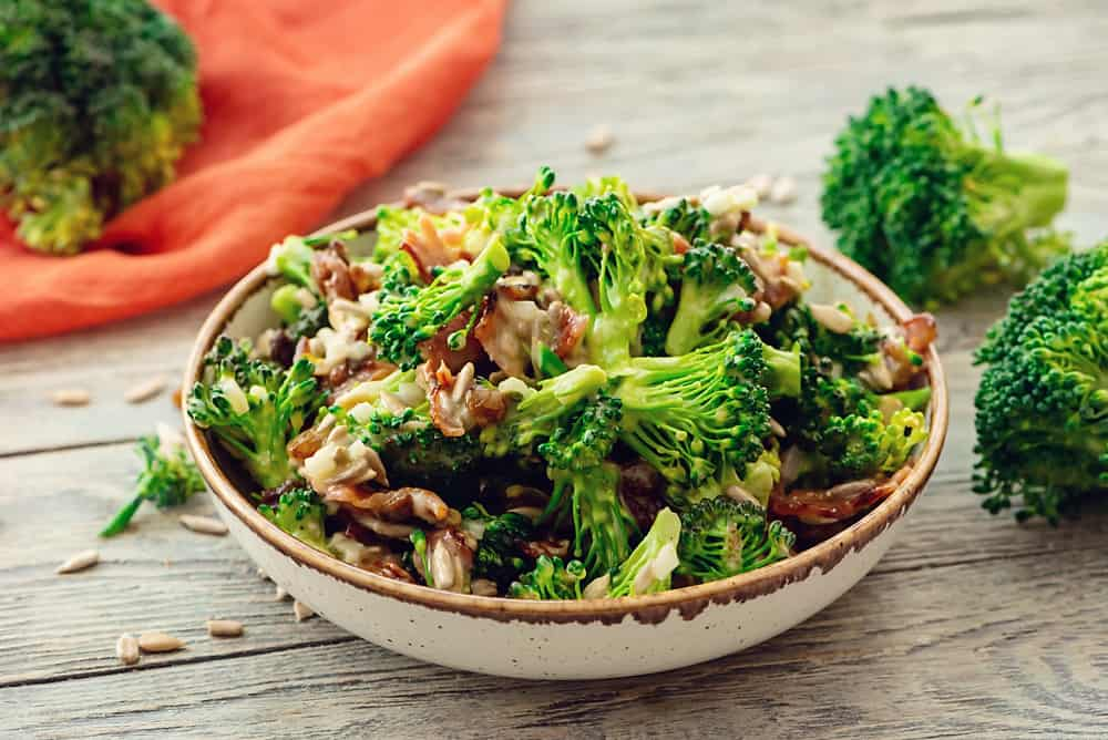 Broccoli Bacon Salad served on dinner table