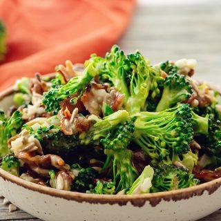 Broccoli Bacon Salad served on table