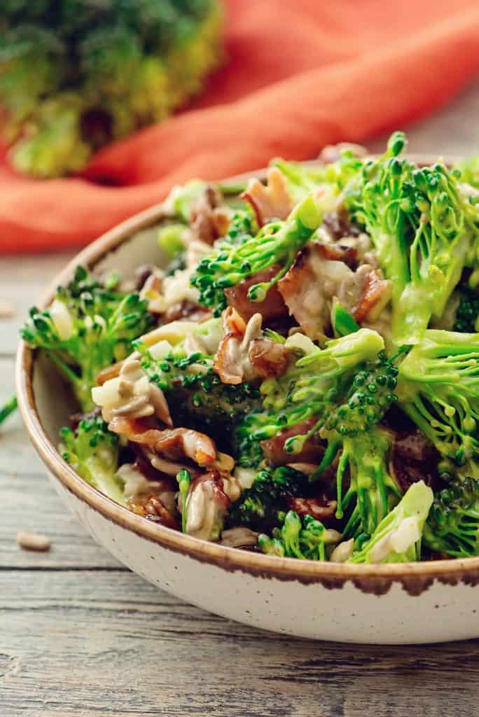 Broccoli Bacon Salad served in bowl