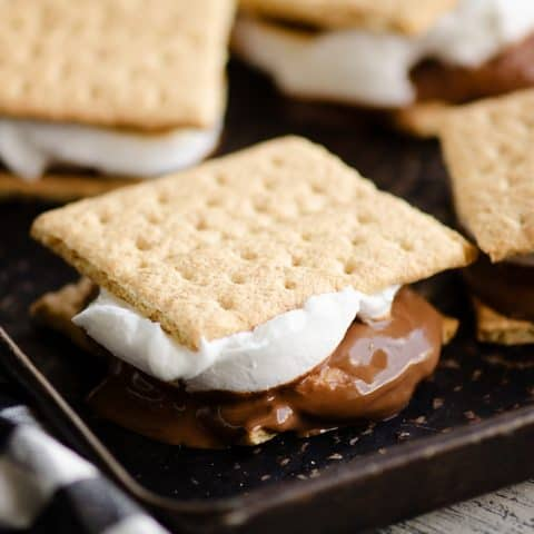 Peanut Butter Cup S'mores In The Oven on a sheet pan