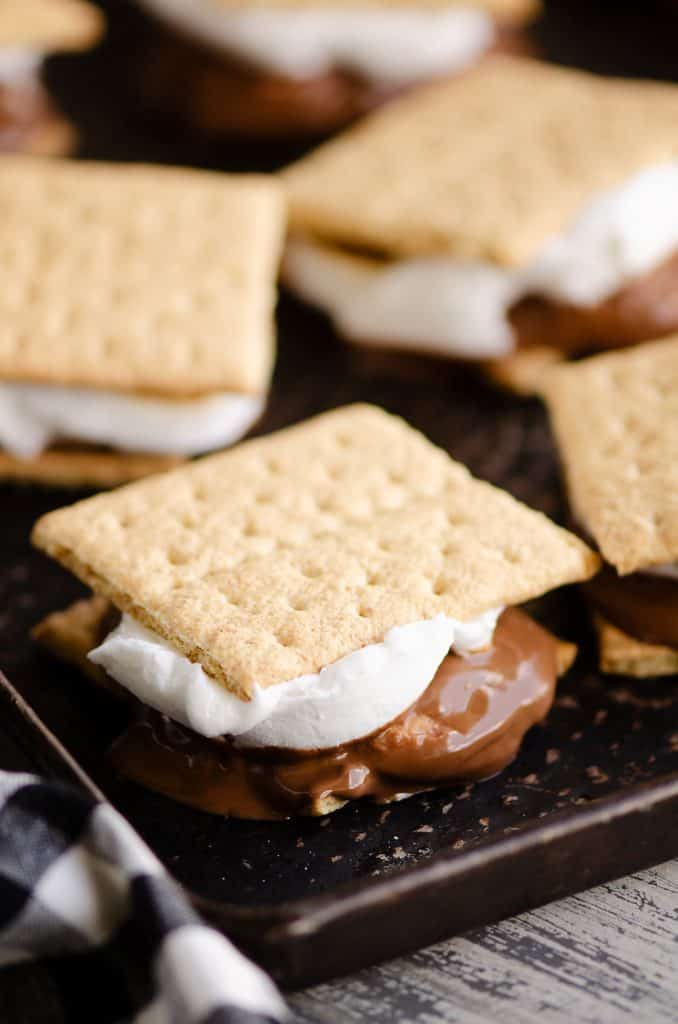 Peanut Butter Cup S'mores In The Oven baked on sheet pan