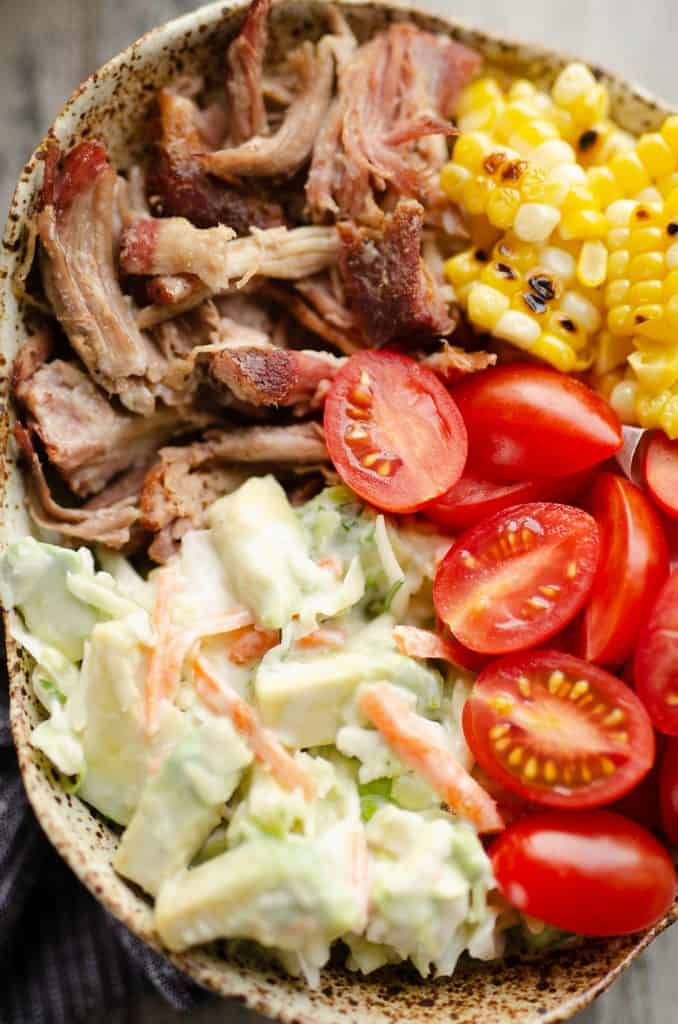 Pulled Pork Bowls with Avocado Slaw closeup