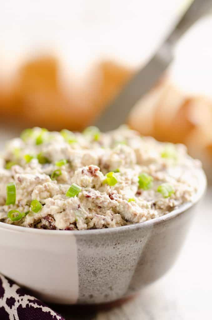 Cranberry Pecan Feta Dip served with knife and bread