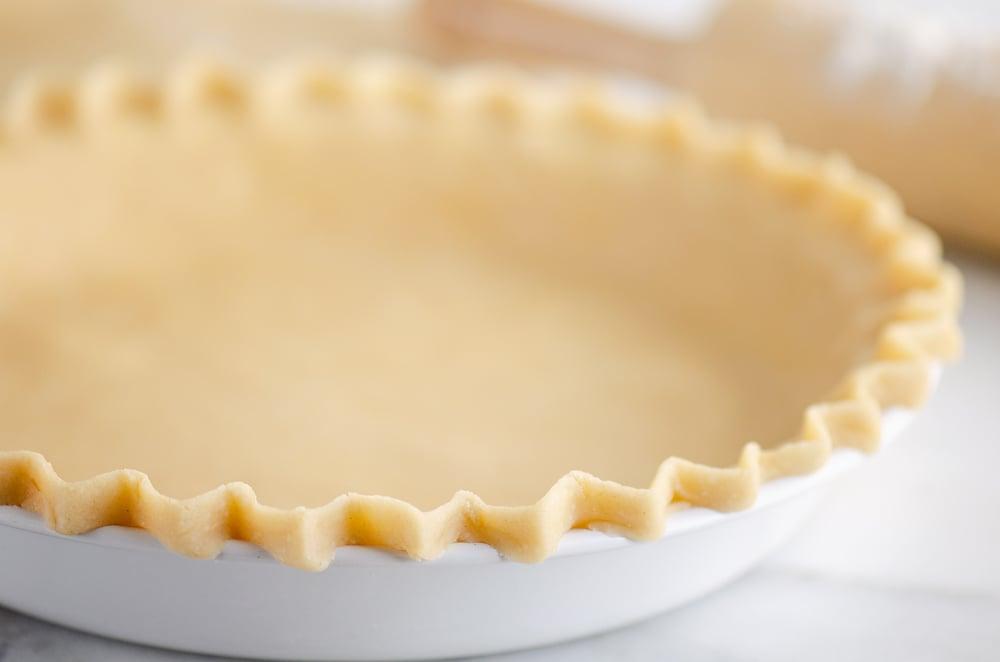 Flakey Pie Crust in white pie plate