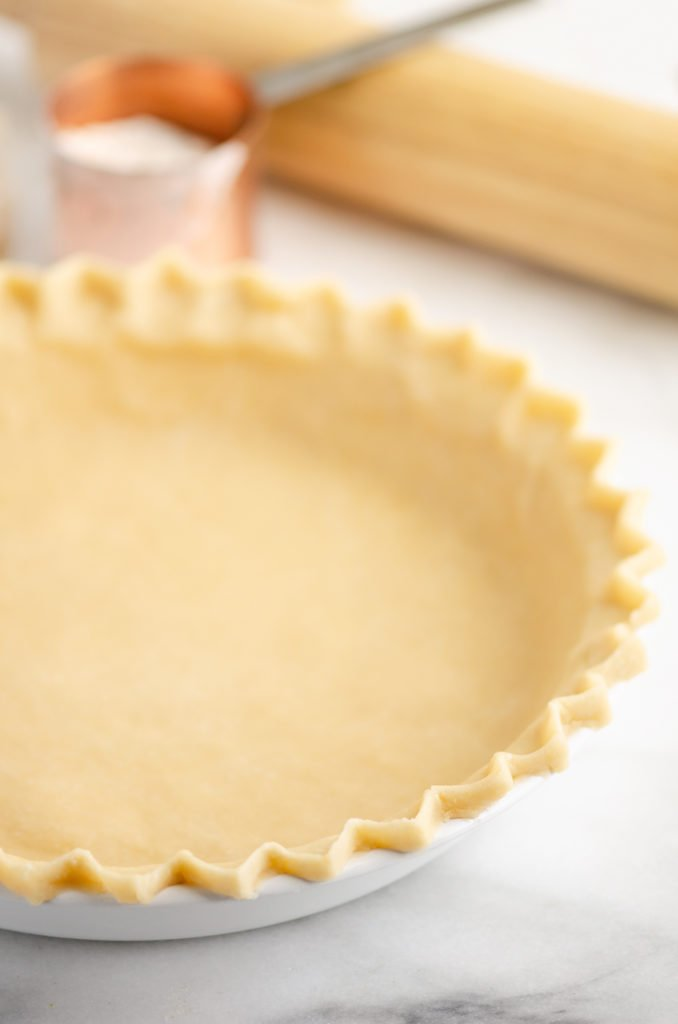Flakey Pie Crust on white counter