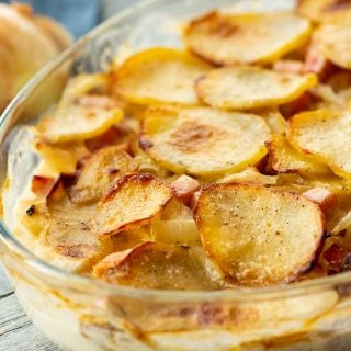Scalloped Potatoes and Ham in casserole