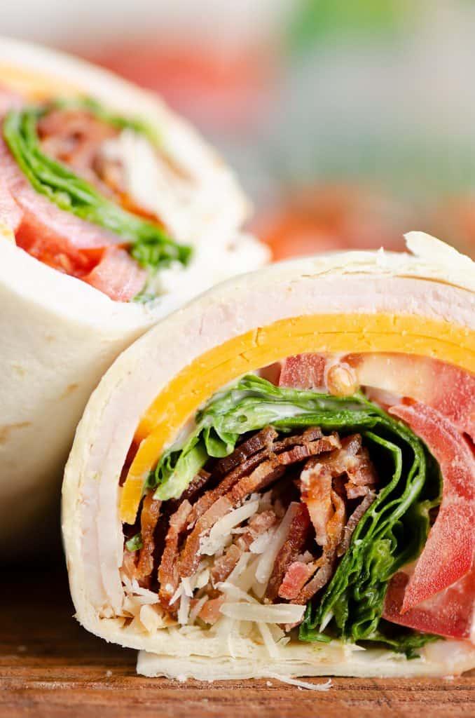 Turkey Bacon Parmesan Ranch Wrap sliced in half