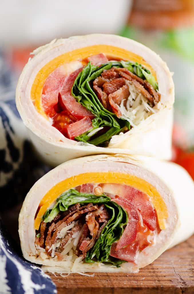 Turkey Bacon Parmesan Ranch Wrap stacked on kitchen counter