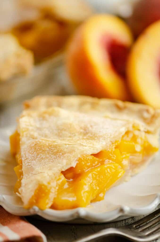 peach pie served on plate