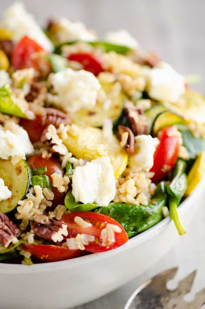 Brown Rice Honey Feta Squash and Brown Rice Salad in bowl