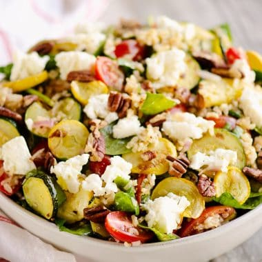 Brown Rice Honey Feta Squash and Brown Rice Salad on table