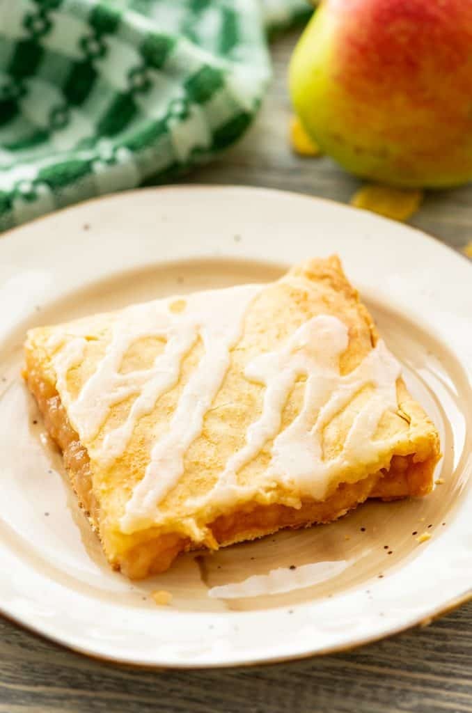 Glazed Apple Pie Bars square slab on plate