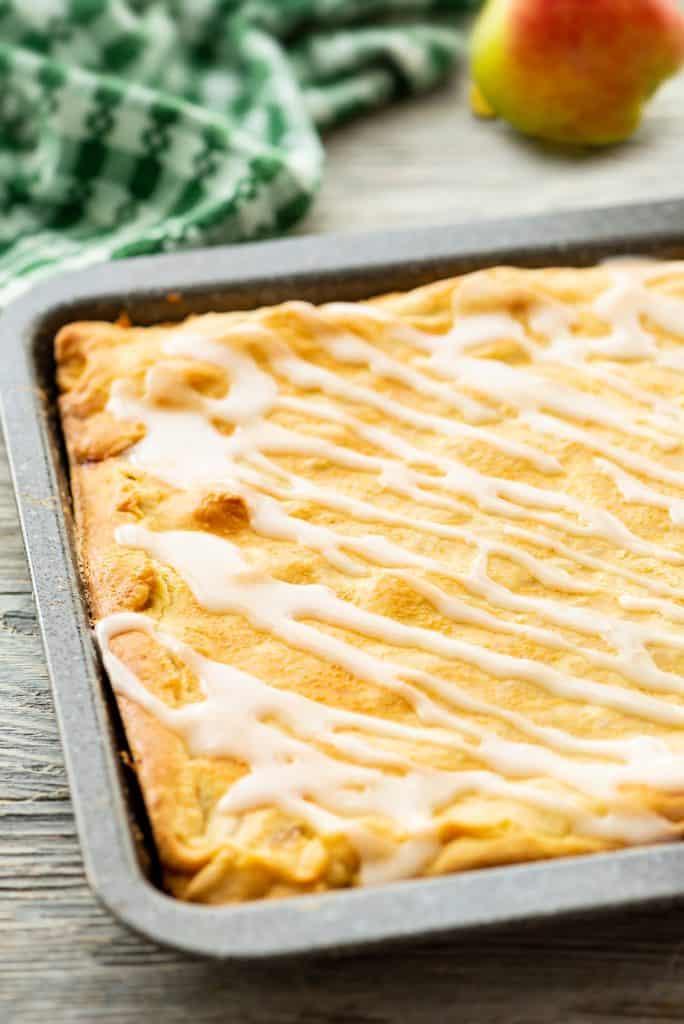Glazed Apple Pie Bars in sheet pan