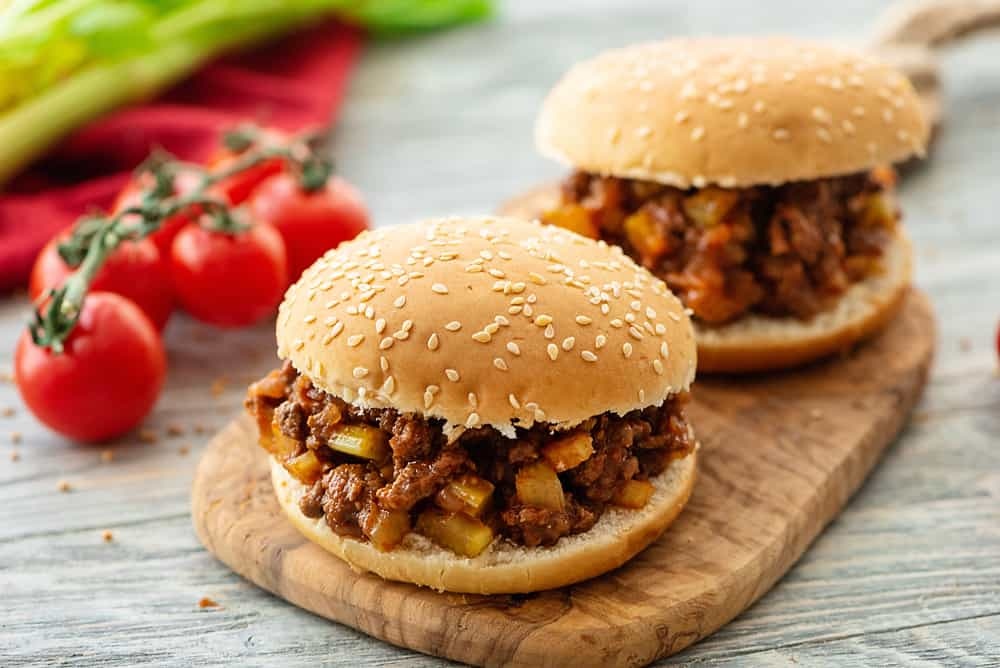Homemade Sloppy Joes served on table