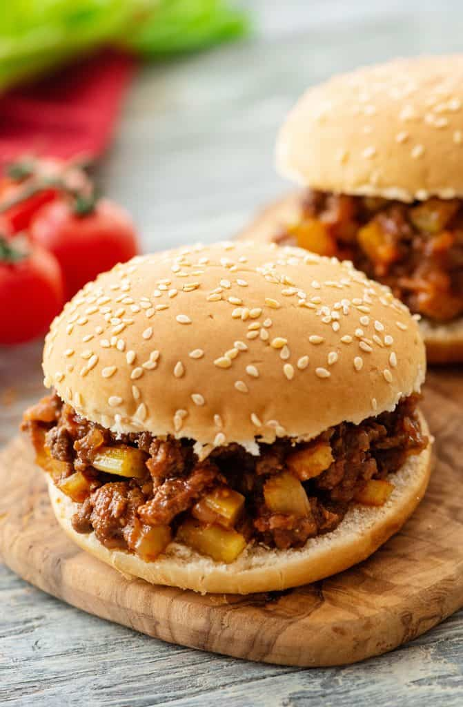 Homemade Sloppy Joes on serving tray