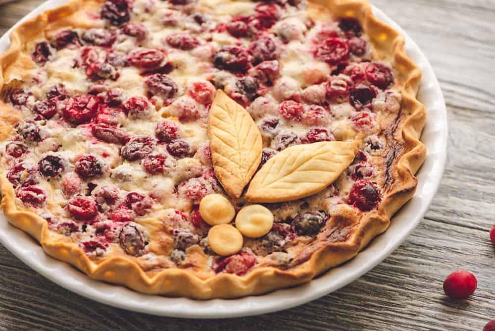 Cranberry Orange Custard Pie in pie plate