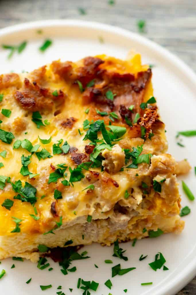 Overnight Sausage Egg Casserole with parsley