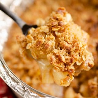 Crispy Pressure Cooker Apple Crisp scooped from pan