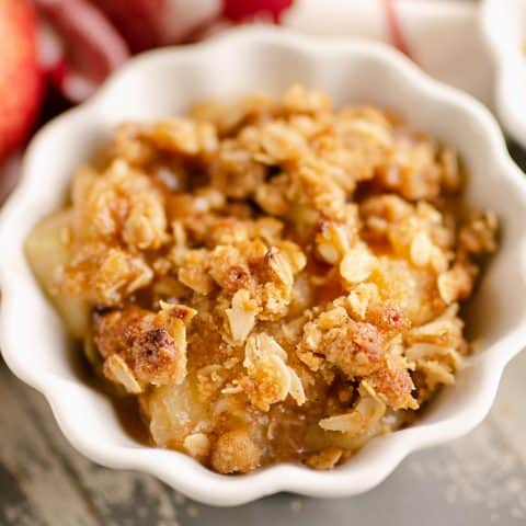 Crispy Pressure Cooker Apple Crisp served in dessert bowls
