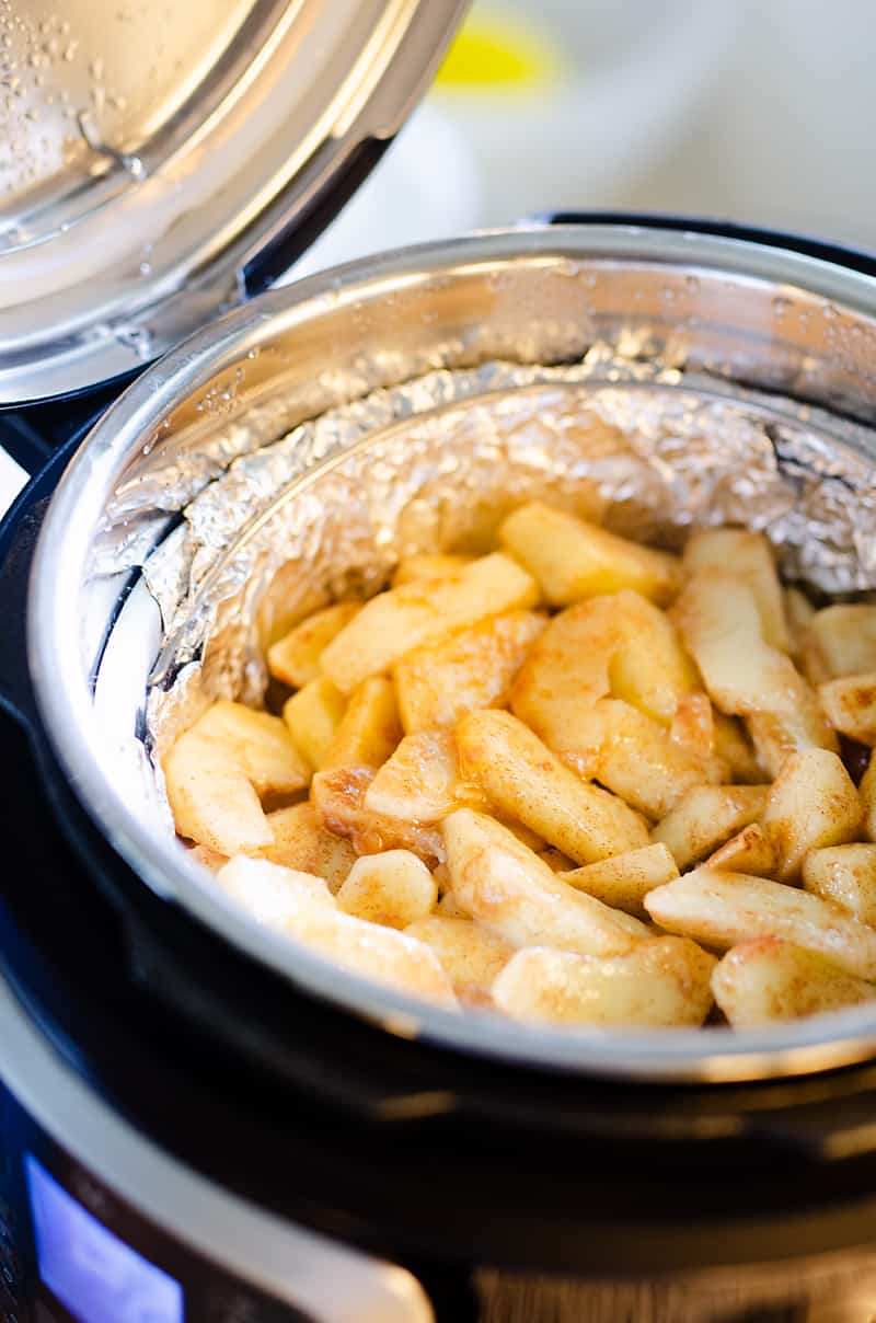 apples being cooked in Instant Pot for Crispy Pressure Cooker Apple Crisp