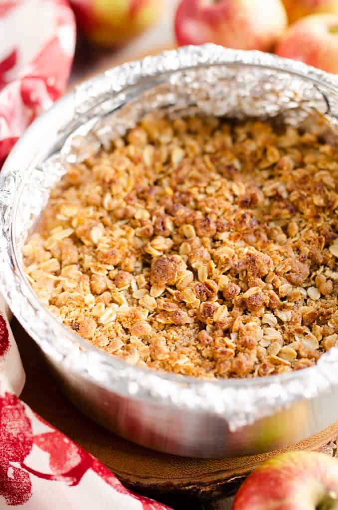 Crispy Pressure Cooker Apple Crisp served on table