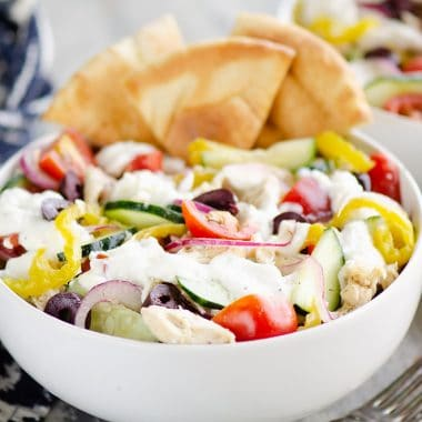Greek Chicken Pita Bowl meal prepped