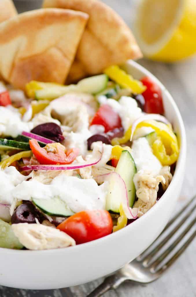 close up of Greek Chicken Pita Bowl